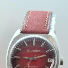 Relojes - Sandox: RELOJ (VINTAGE) SANDOZ AUTOMÁTICO ACERO ESFERA COLOR VINO CALENDARIO A LAS TRES, CORREA CUERO VINO.. Lote 291838318