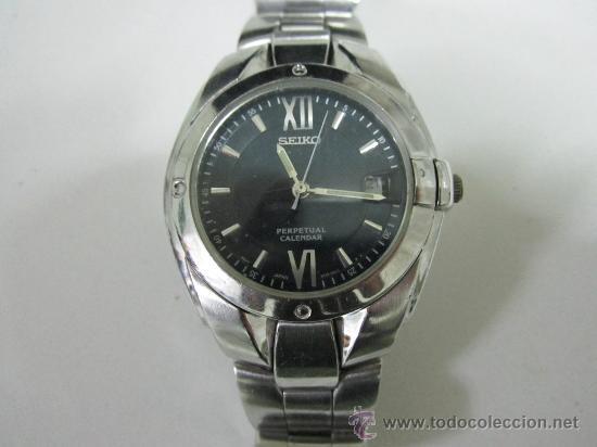 Seiko Perpetual Calendar.Reloj Seiko Perpetual Calendar Esfera Azul Acero Correa Original