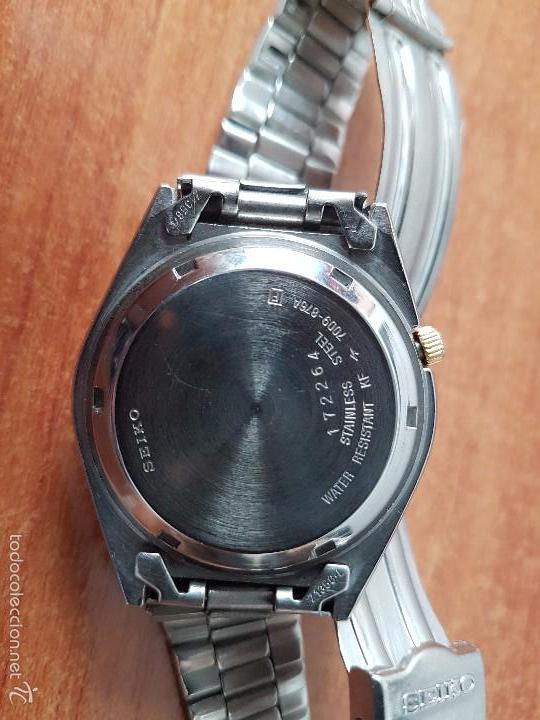 Relojes - Seiko: Reloj de caballero (Vintage) Seiko automático con calendario a las tres horas pulsera acero original - Foto 11 - 115489360