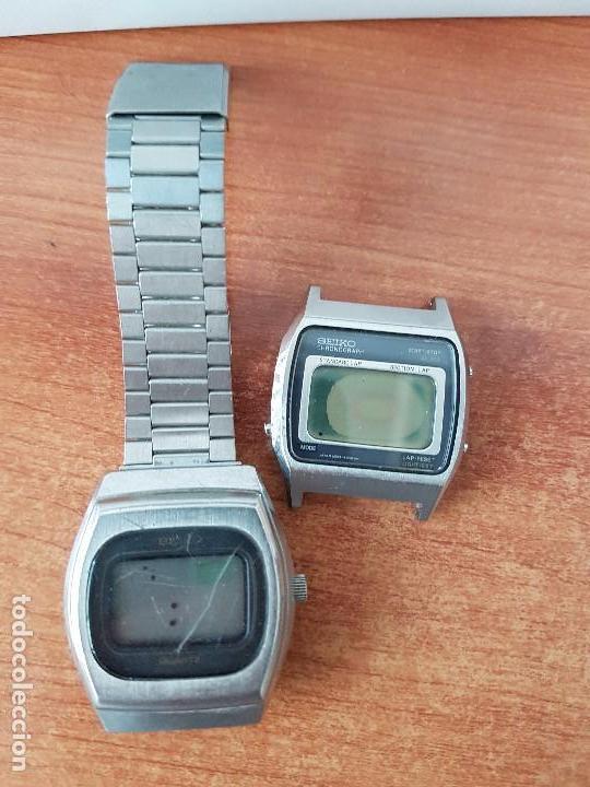 Relojes - Seiko: Dos relojes caballero (Vintage) Seiko no funcionan para repuestos, una con correa, el otro no tiene - Foto 5 - 62148744