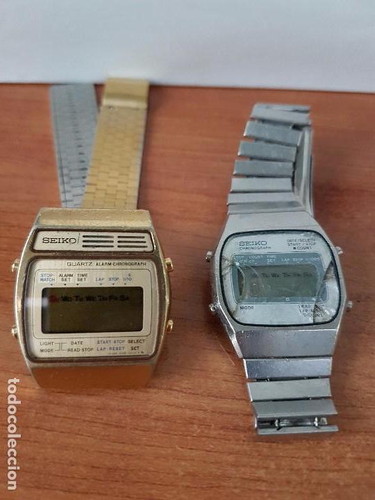 DOS RELOJES DE CABALLERO (VINTAGE) SEIKO CON CORREAS ORIGINALES SEIKO PARA REPUESTOS (FORNITURAS) (Relojes - Relojes Actuales - Seiko)