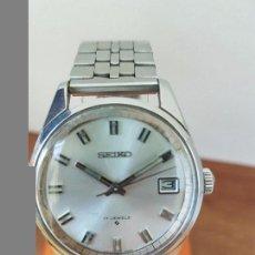 Relojes - Seiko: RELOJ DE CABALLERO (VINTAGE) CUERDA SEIKO ACERO CALENDARIO A LAS TRES HORAS, CORREA ACERO ORIGINAL. Lote 85351444