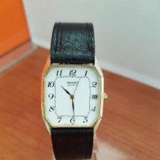 Relojes - Seiko: RELOJ CABALLERO (VINTAGE) SEIKO CHAPADO DE ORO CON CALENDARIO A LAS TRES HORAS, CORREA CUERO NEGRA. Lote 94364578