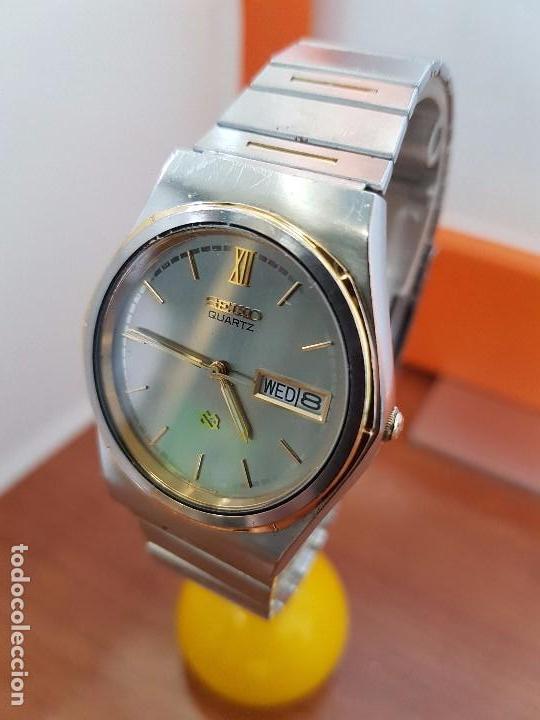 Relojes - Seiko: Reloj caballero (Vintage) SEIKO de cuarzo acero bisel bicolor, correa acero bicolor original Seiko - Foto 2 - 97460027