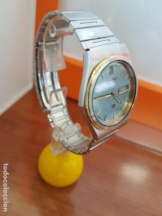 Relojes - Seiko: Reloj caballero (Vintage) SEIKO de cuarzo acero bisel bicolor, correa acero bicolor original Seiko - Foto 3 - 97460027