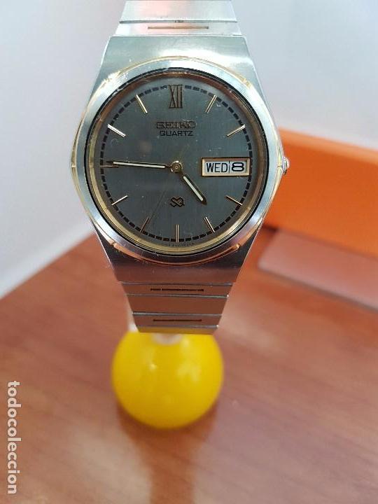 Relojes - Seiko: Reloj caballero (Vintage) SEIKO de cuarzo acero bisel bicolor, correa acero bicolor original Seiko - Foto 4 - 97460027