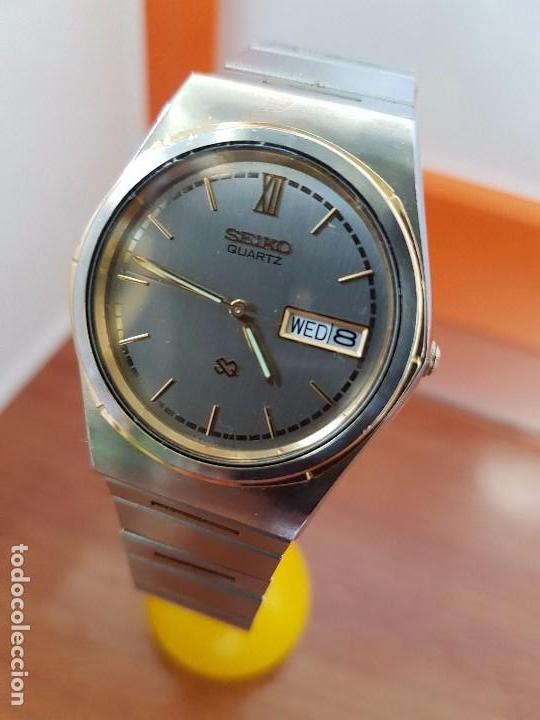 Relojes - Seiko: Reloj caballero (Vintage) SEIKO de cuarzo acero bisel bicolor, correa acero bicolor original Seiko - Foto 6 - 97460027
