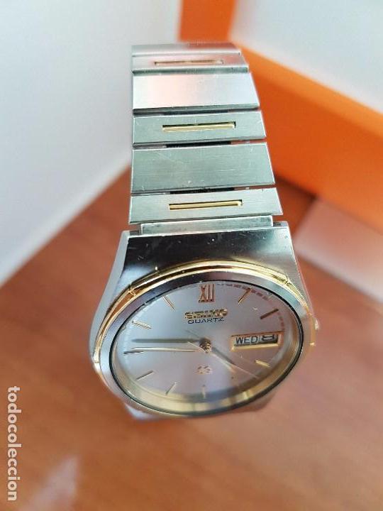 Relojes - Seiko: Reloj caballero (Vintage) SEIKO de cuarzo acero bisel bicolor, correa acero bicolor original Seiko - Foto 7 - 97460027