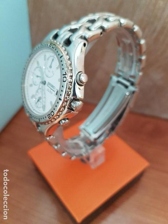 Relojes - Seiko: Reloj caballero (Vintage) SEIKO cronografo, alarma calendario de cuarzo, correa original Seiko - Foto 4 - 117379695