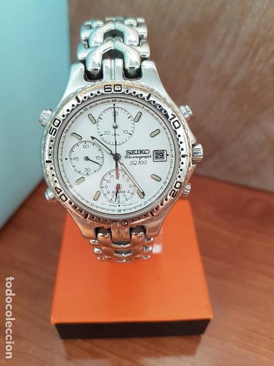 Relojes - Seiko: Reloj caballero (Vintage) SEIKO cronografo, alarma calendario de cuarzo, correa original Seiko - Foto 7 - 117379695