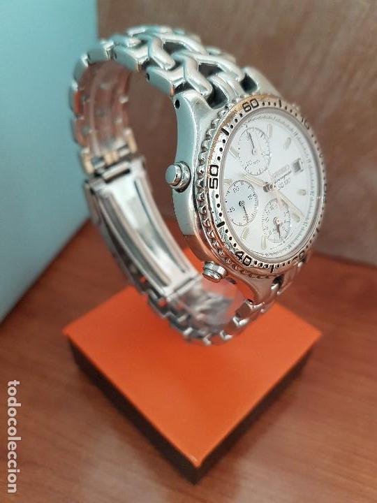 Relojes - Seiko: Reloj caballero (Vintage) SEIKO cronografo, alarma calendario de cuarzo, correa original Seiko - Foto 9 - 117379695