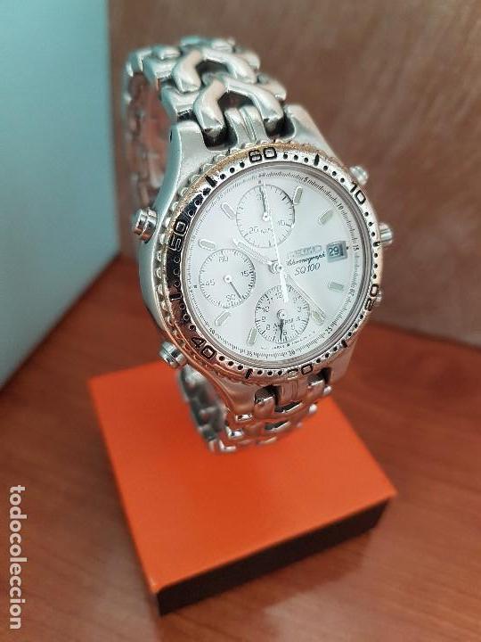 Relojes - Seiko: Reloj caballero (Vintage) SEIKO cronografo, alarma calendario de cuarzo, correa original Seiko - Foto 11 - 117379695