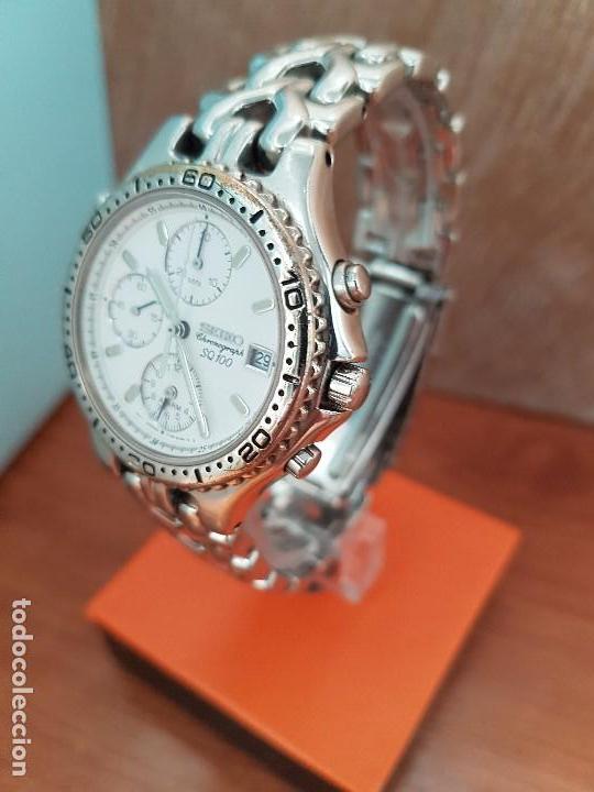Relojes - Seiko: Reloj caballero (Vintage) SEIKO cronografo, alarma calendario de cuarzo, correa original Seiko - Foto 12 - 117379695