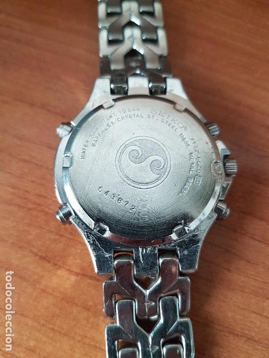 Relojes - Seiko: Reloj caballero (Vintage) SEIKO cronografo, alarma calendario de cuarzo, correa original Seiko - Foto 17 - 117379695