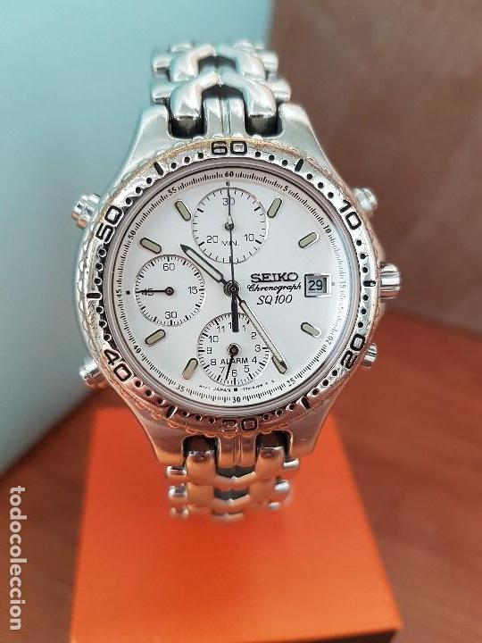 Relojes - Seiko: Reloj caballero (Vintage) SEIKO cronografo, alarma calendario de cuarzo, correa original Seiko - Foto 18 - 117379695