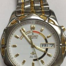 Relojes - Seiko: TELOJ SEIKO KINETIC SQ50 DOBLE DIAL EN ACERO COMPLETO DE HOMBRE COMO NUEVO. Lote 121880270