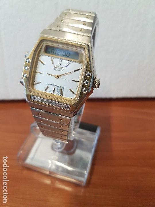 Relojes - Seiko: Reloj caballero (Vintage) SEIKO analógico y digital con alarma en acero bicolor, correa acero origin - Foto 2 - 129225063