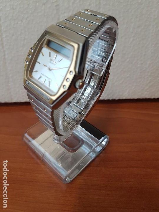Relojes - Seiko: Reloj caballero (Vintage) SEIKO analógico y digital con alarma en acero bicolor, correa acero origin - Foto 3 - 129225063