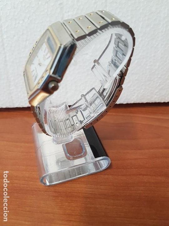 Relojes - Seiko: Reloj caballero (Vintage) SEIKO analógico y digital con alarma en acero bicolor, correa acero origin - Foto 4 - 129225063