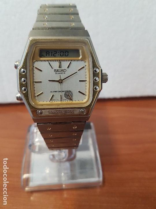 Relojes - Seiko: Reloj caballero (Vintage) SEIKO analógico y digital con alarma en acero bicolor, correa acero origin - Foto 5 - 129225063