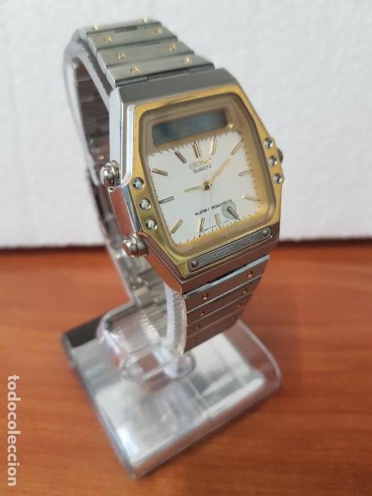Relojes - Seiko: Reloj caballero (Vintage) SEIKO analógico y digital con alarma en acero bicolor, correa acero origin - Foto 6 - 129225063