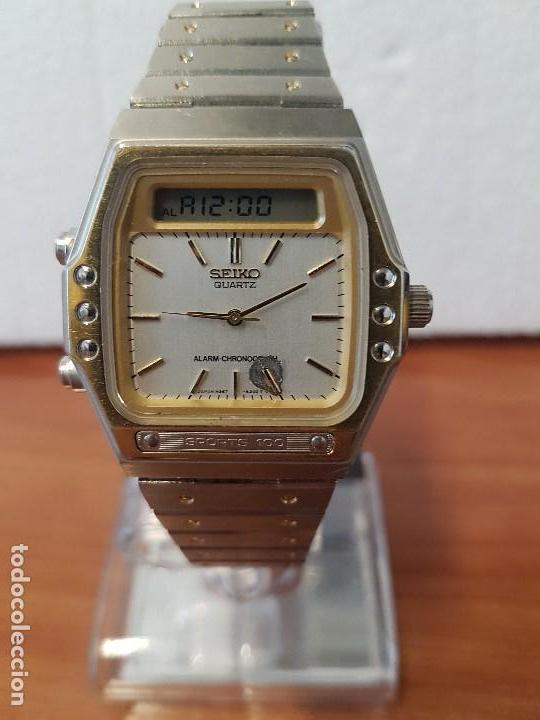 Relojes - Seiko: Reloj caballero (Vintage) SEIKO analógico y digital con alarma en acero bicolor, correa acero origin - Foto 7 - 129225063