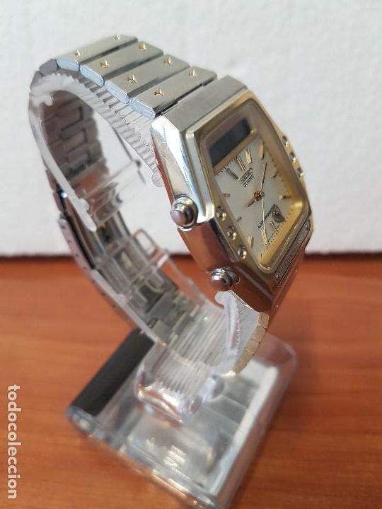 Relojes - Seiko: Reloj caballero (Vintage) SEIKO analógico y digital con alarma en acero bicolor, correa acero origin - Foto 8 - 129225063