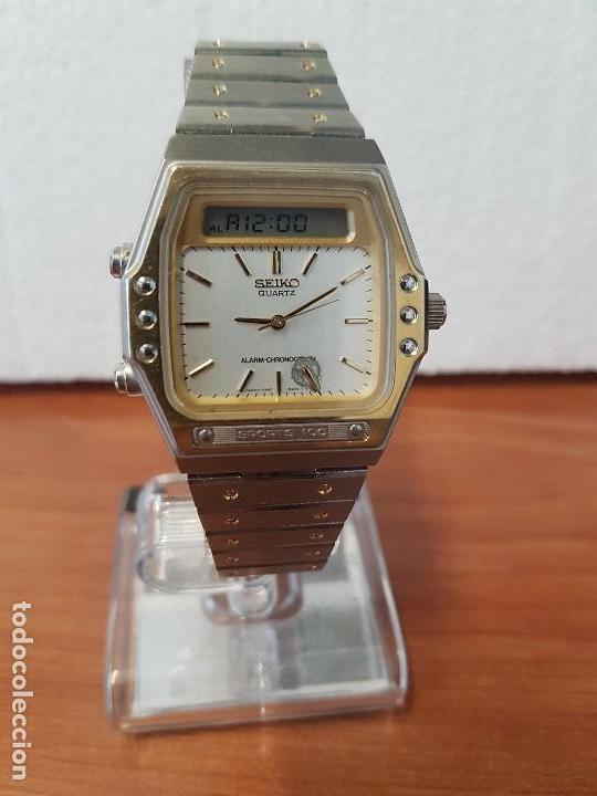 Relojes - Seiko: Reloj caballero (Vintage) SEIKO analógico y digital con alarma en acero bicolor, correa acero origin - Foto 9 - 129225063