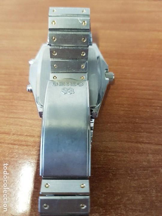 Relojes - Seiko: Reloj caballero (Vintage) SEIKO analógico y digital con alarma en acero bicolor, correa acero origin - Foto 12 - 129225063