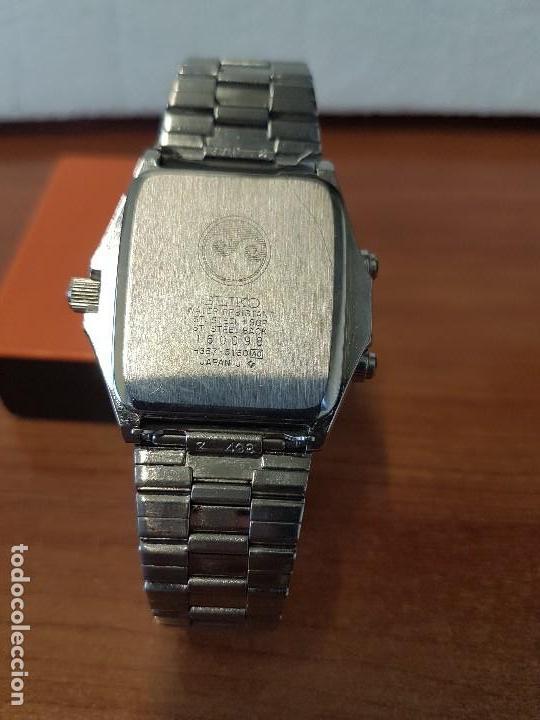 Relojes - Seiko: Reloj caballero (Vintage) SEIKO analógico y digital con alarma en acero bicolor, correa acero origin - Foto 13 - 129225063