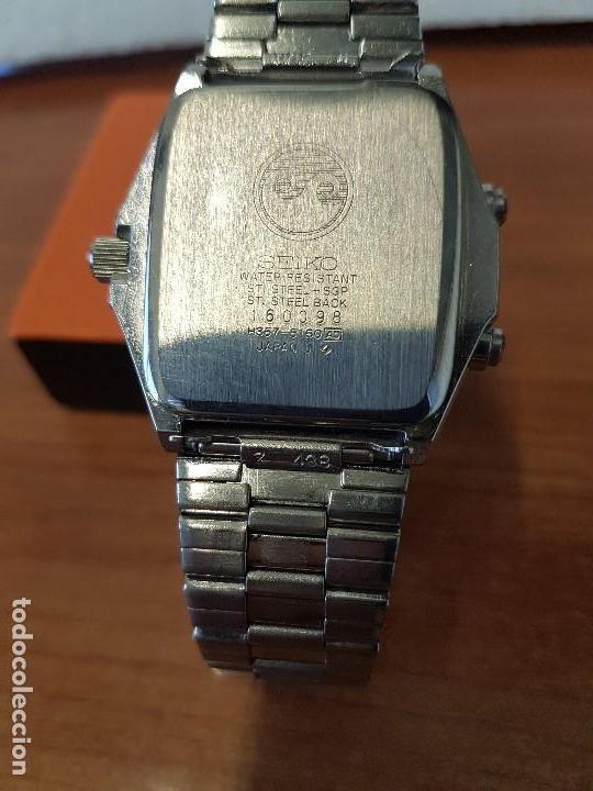 Relojes - Seiko: Reloj caballero (Vintage) SEIKO analógico y digital con alarma en acero bicolor, correa acero origin - Foto 17 - 129225063