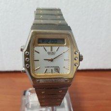 Relojes - Seiko: RELOJ CABALLERO (VINTAGE) SEIKO ANALÓGICO Y DIGITAL CON ALARMA EN ACERO BICOLOR, CORREA ACERO ORIGIN. Lote 129225063