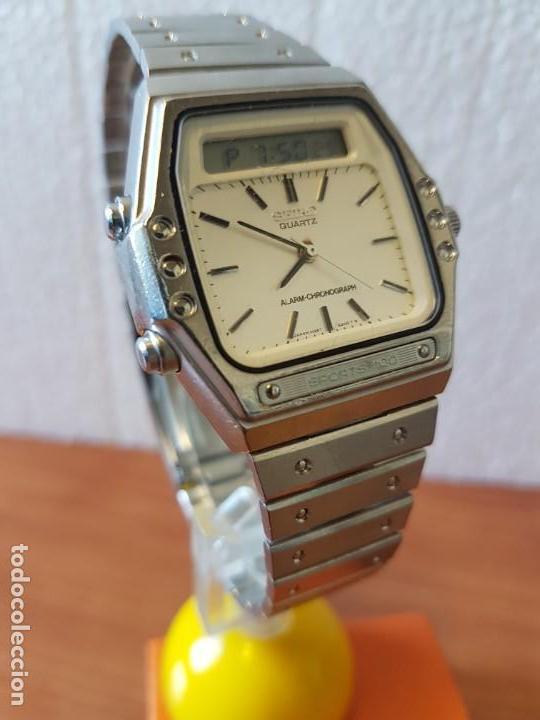 Relojes - Seiko: Reloj caballero (Vintage) SEIKO analógico y digital con alarma en acero, correa acero original SEIKO - Foto 2 - 130043523