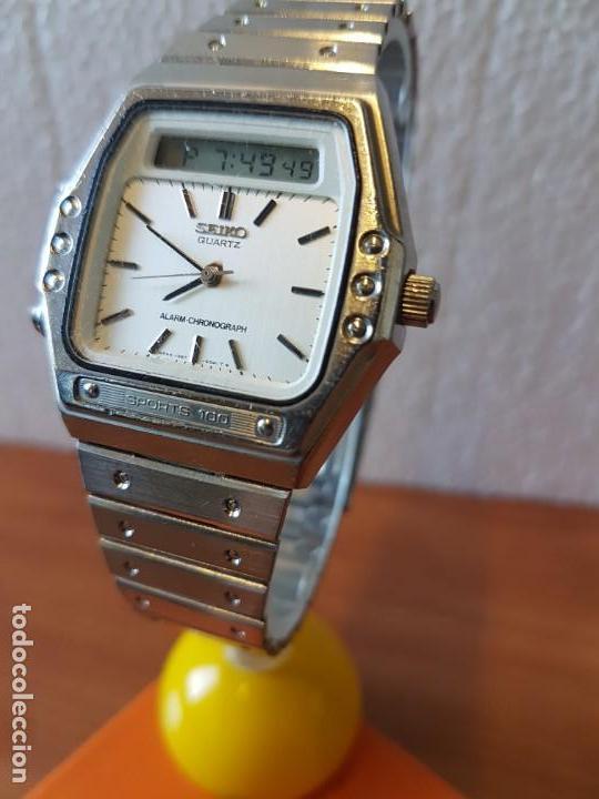 Relojes - Seiko: Reloj caballero (Vintage) SEIKO analógico y digital con alarma en acero, correa acero original SEIKO - Foto 3 - 130043523