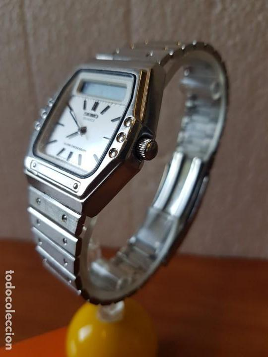 Relojes - Seiko: Reloj caballero (Vintage) SEIKO analógico y digital con alarma en acero, correa acero original SEIKO - Foto 4 - 130043523