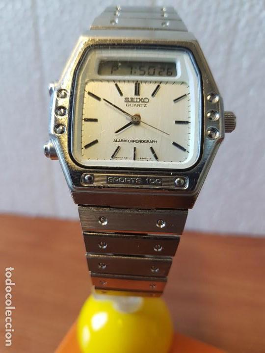 Relojes - Seiko: Reloj caballero (Vintage) SEIKO analógico y digital con alarma en acero, correa acero original SEIKO - Foto 6 - 130043523