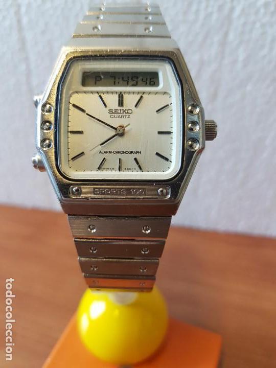 Relojes - Seiko: Reloj caballero (Vintage) SEIKO analógico y digital con alarma en acero, correa acero original SEIKO - Foto 10 - 130043523