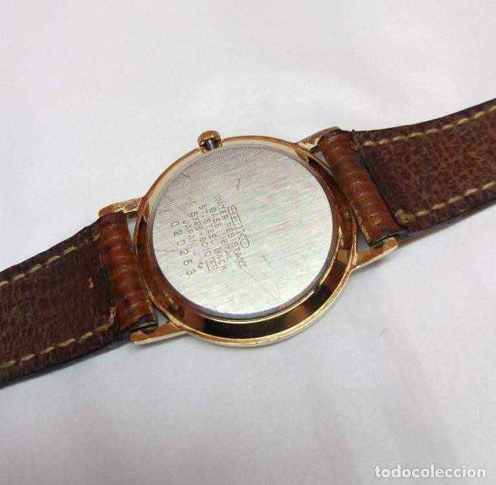Relojes - Seiko: RELOJ SEIKO DE CUARZO CHAPADO EN ORO - CAJA 3 cm - FUNCIONA CORRECTAMENTE - Foto 3 - 159178249