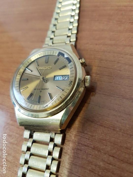 Relojes - Seiko: Reloj caballero (Vintage) SEIKO BELL - MATIC con alarma chapado de oro, con esfera color champan - Foto 4 - 158295990