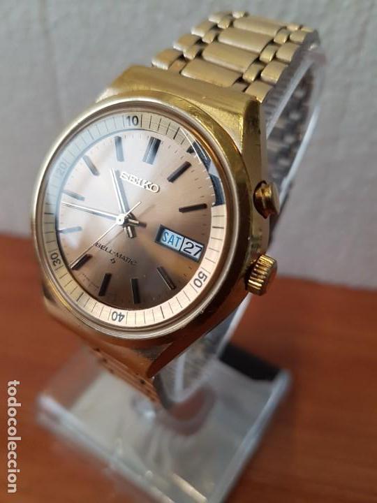Relojes - Seiko: Reloj caballero (Vintage) SEIKO BELL - MATIC con alarma chapado de oro, con esfera color champan - Foto 5 - 158295990