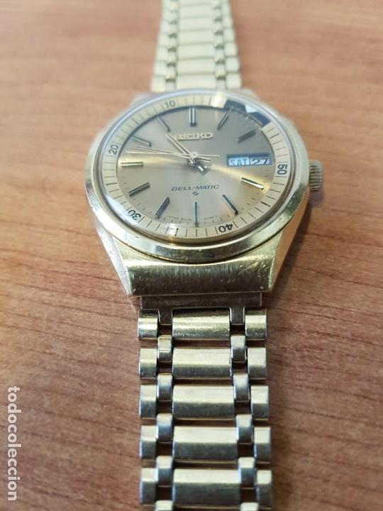 Relojes - Seiko: Reloj caballero (Vintage) SEIKO BELL - MATIC con alarma chapado de oro, con esfera color champan - Foto 6 - 158295990