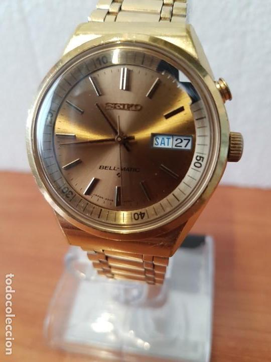 Relojes - Seiko: Reloj caballero (Vintage) SEIKO BELL - MATIC con alarma chapado de oro, con esfera color champan - Foto 16 - 158295990