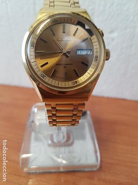 Relojes - Seiko: Reloj caballero (Vintage) SEIKO BELL - MATIC con alarma chapado de oro, con esfera color champan - Foto 24 - 158295990