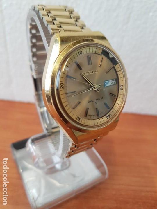 Relojes - Seiko: Reloj caballero (Vintage) SEIKO BELL - MATIC con alarma chapado de oro, con esfera color champan - Foto 27 - 158295990