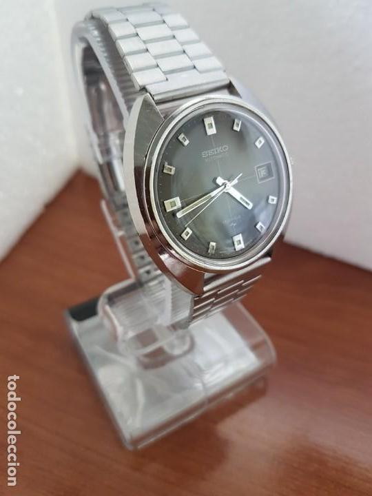 Relojes - Seiko: Reloj caballero (Vintage) SEIKO acero, calendario a las tres, esfera negra, correa acero original - Foto 3 - 171167992
