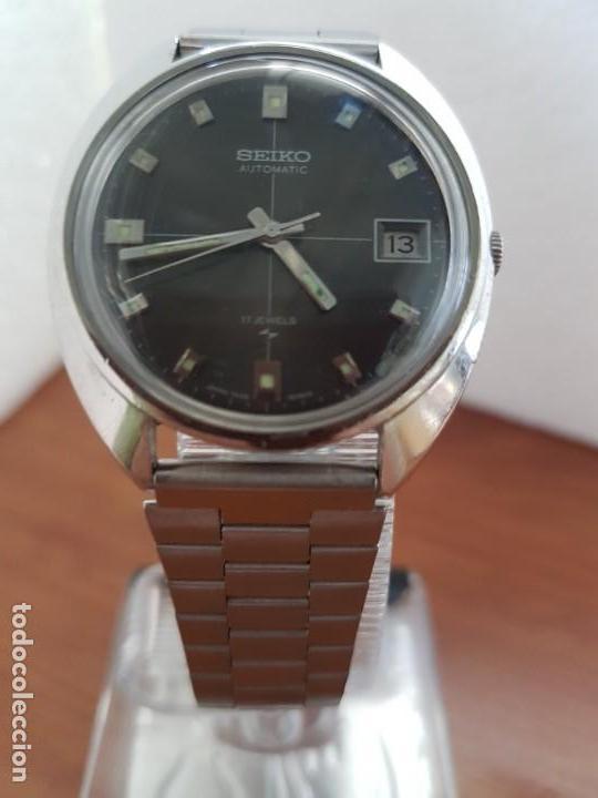 Relojes - Seiko: Reloj caballero (Vintage) SEIKO acero, calendario a las tres, esfera negra, correa acero original - Foto 12 - 171167992