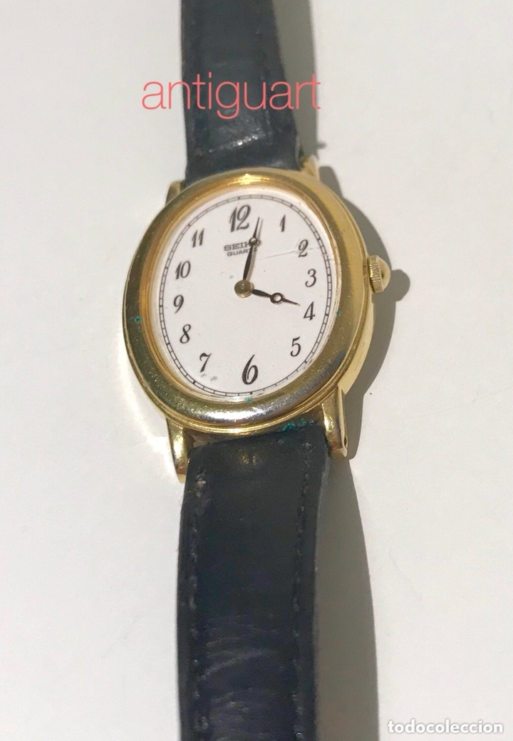 Relojes - Seiko: Reloj de pulsera de mujer Seiko Quartz. Pulsera piel negra. Funciona, solo falta cambio pila. - Foto 2 - 172761498