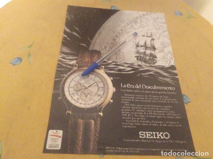 ANTIGUO ANUNCIO PUBLICIDAD REVISTA 1992 RELOJ SEIKO CRONOMETRADOR OFICIAL JUEGOS XXV OLIMPIADA (Relojes - Relojes Actuales - Seiko)