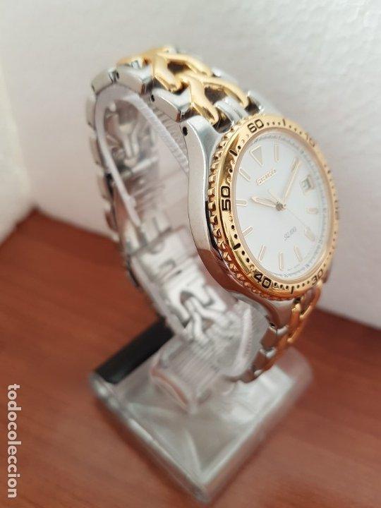 Relojes - Seiko: Reloj caballero (Vintage) SEIKO de cuarzo acero bicolor con calendario a las tres, correa original - Foto 3 - 178223250