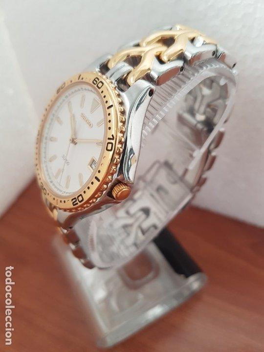 Relojes - Seiko: Reloj caballero (Vintage) SEIKO de cuarzo acero bicolor con calendario a las tres, correa original - Foto 4 - 178223250